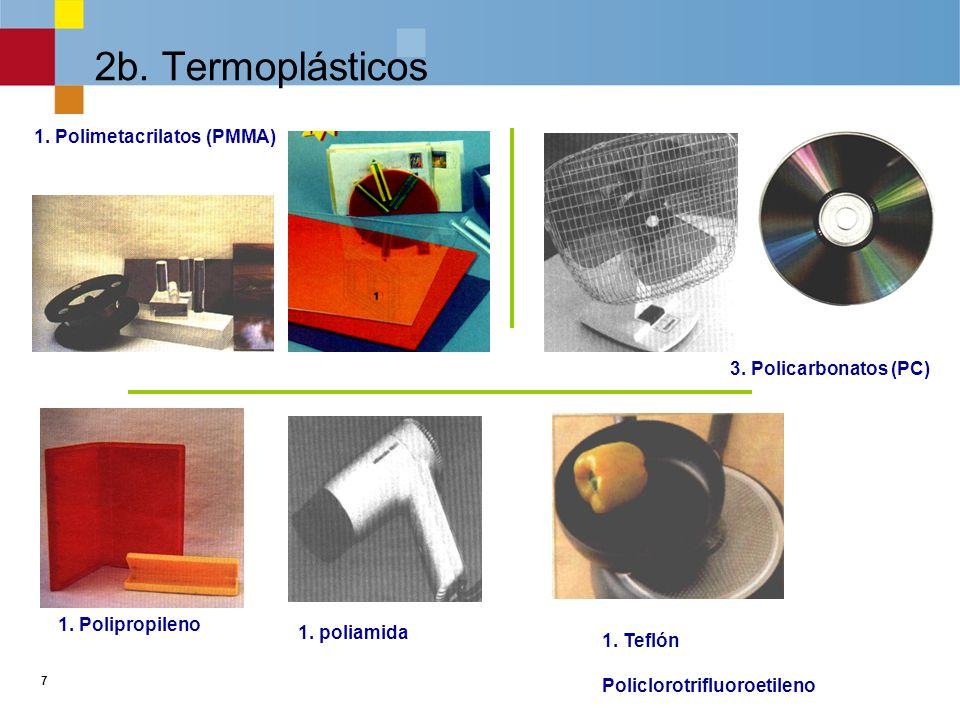 6 2a. Termoplásticos 3. Poliestireno 1. PVC Poliestireno duro Poliestireno expandido o porexpán 2. PE
