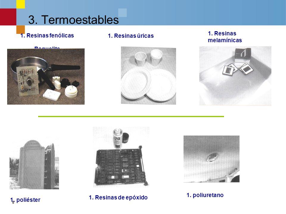 8 3.Termoestables 1. Resinas fenólicas Baquelita 1.