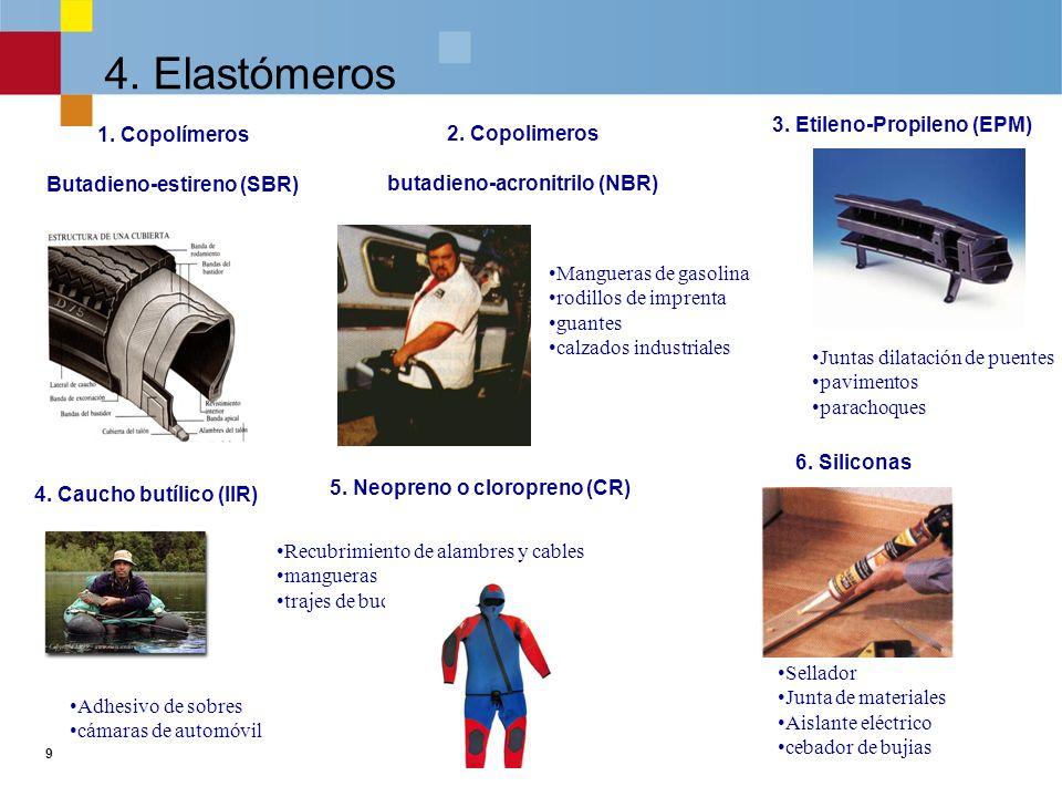 9 4.Elastómeros 1. Copolímeros Butadieno-estireno (SBR) 5.