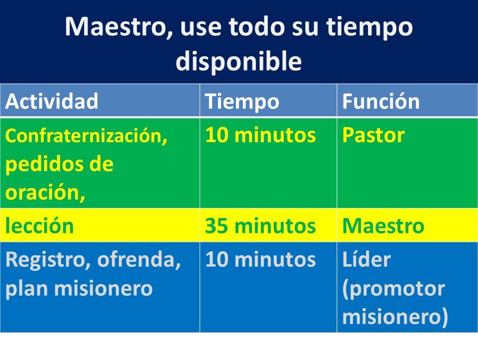 Maestro, use todo su tiempo disponible ActividadTiempoFunción Confraternización, pedidos de oración, 10 minutosPastor lección35 minutosMaestro Registr