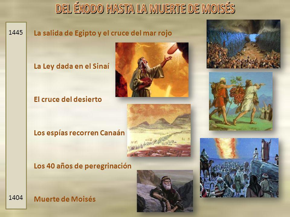 La salida de Egipto y el cruce del mar rojo La Ley dada en el Sinaí Los espías recorren Canaán Los 40 años de peregrinación El cruce del desierto Muer