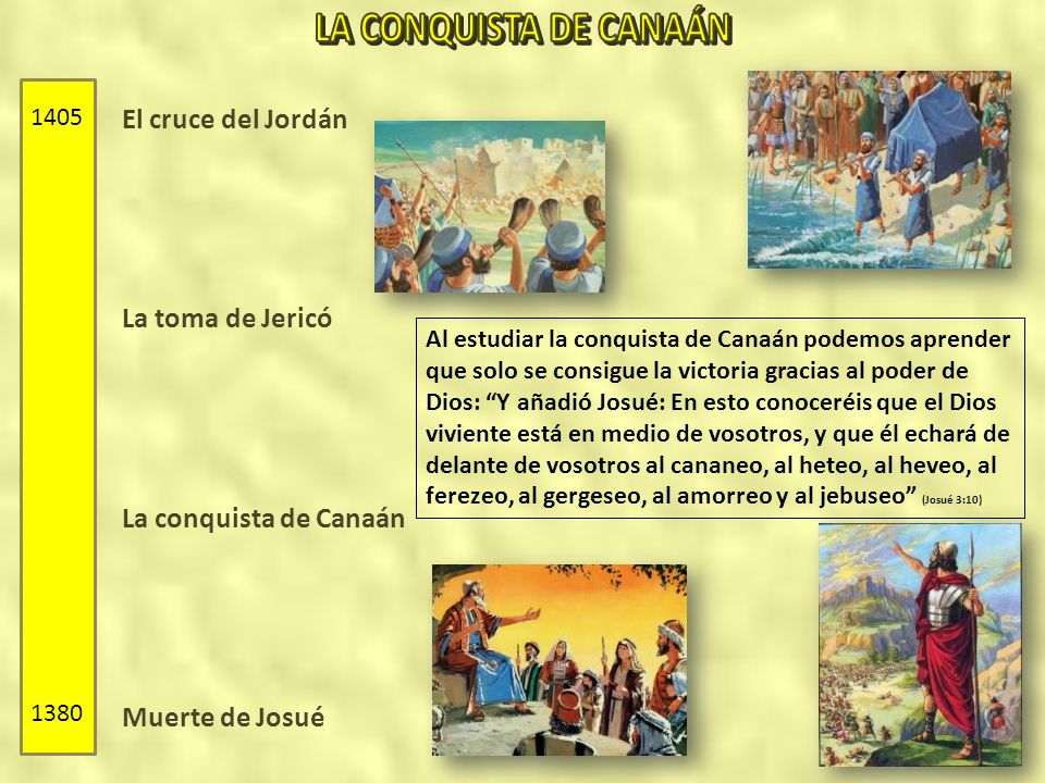 El cruce del Jordán La toma de Jericó La conquista de Canaán Muerte de Josué 1405 1380 Al estudiar la conquista de Canaán podemos aprender que solo se