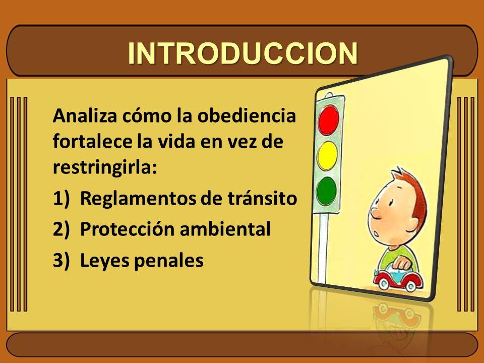 INTRODUCCION Analiza cómo la obediencia fortalece la vida en vez de restringirla: 1)Reglamentos de tránsito 2)Protección ambiental 3)Leyes penales
