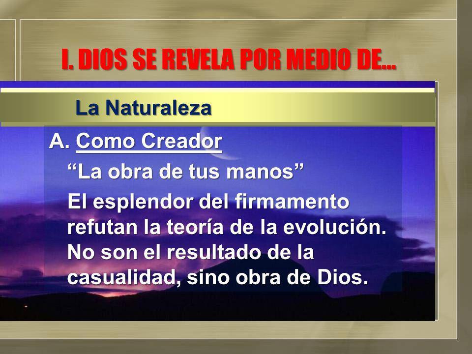 A.Como Creador La obra de tus manos El esplendor del firmamento refutan la teoría de la evolución.