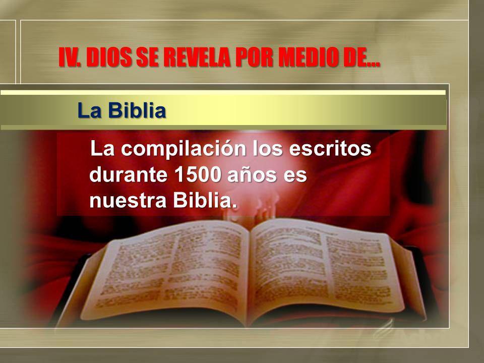 La compilación los escritos durante 1500 años es nuestra Biblia.