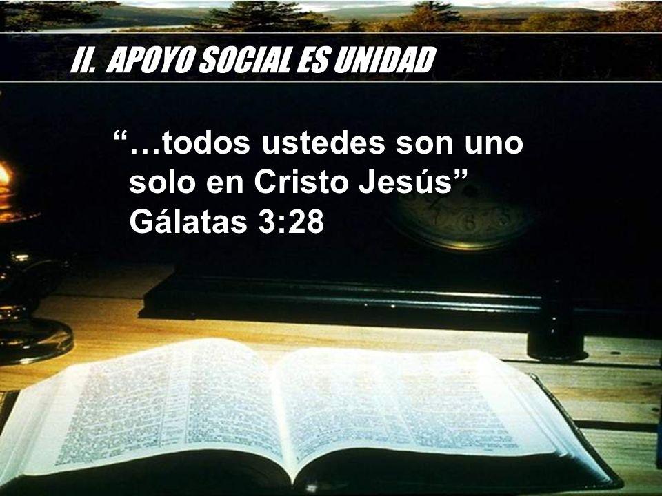 II. APOYO SOCIAL ES UNIDAD …todos ustedes son uno solo en Cristo Jesús Gálatas 3:28 …todos ustedes son uno solo en Cristo Jesús Gálatas 3:28