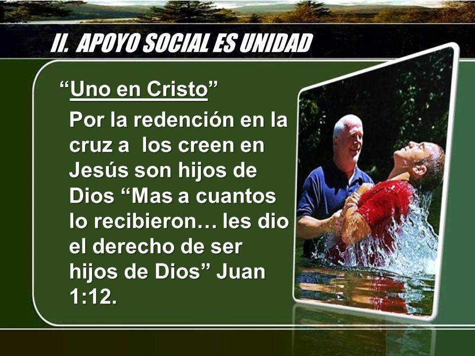 II. APOYO SOCIAL ES UNIDAD Uno en CristoUno en Cristo Por la redención en la cruz a los creen en Jesús son hijos de Dios Mas a cuantos lo recibieron…