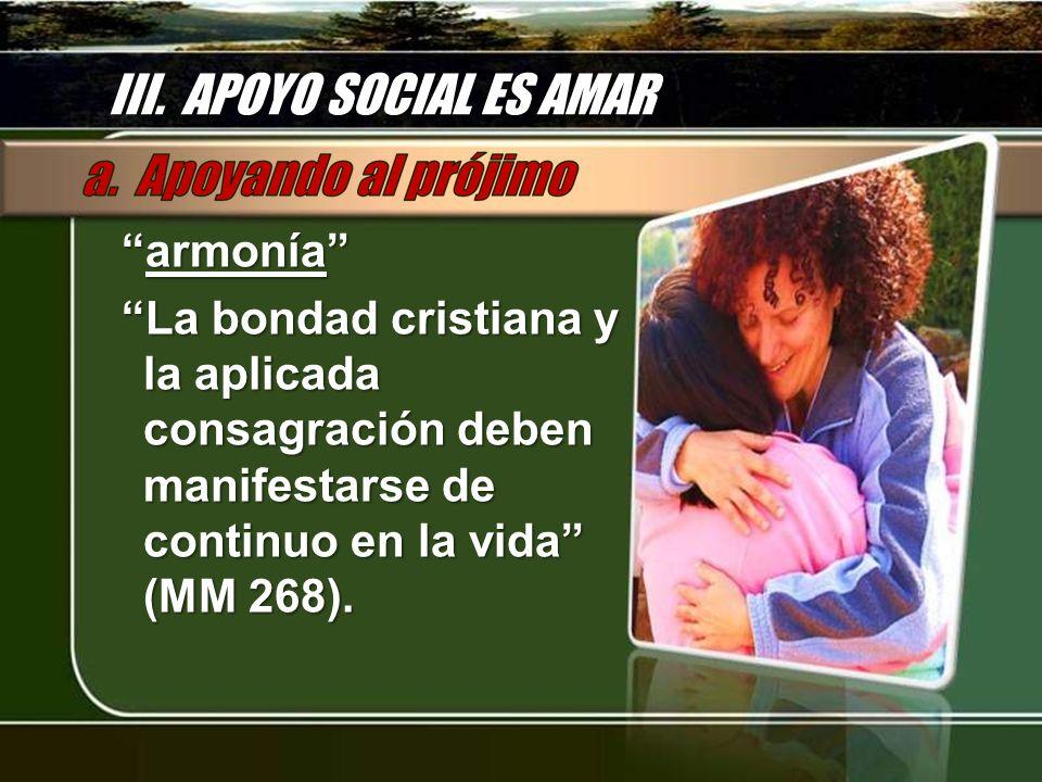 III. APOYO SOCIAL ES AMAR armoníaarmonía La bondad cristiana y la aplicada consagración deben manifestarse de continuo en la vida (MM 268).