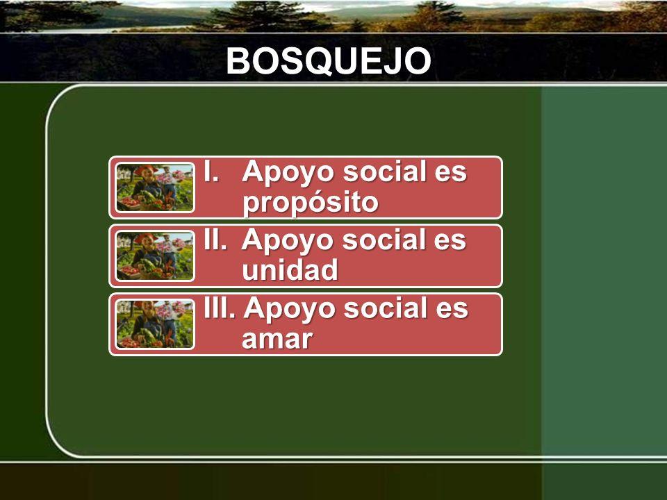 BOSQUEJO I.Apoyo social es propósito II.Apoyo social es unidad III. Apoyo social es amar