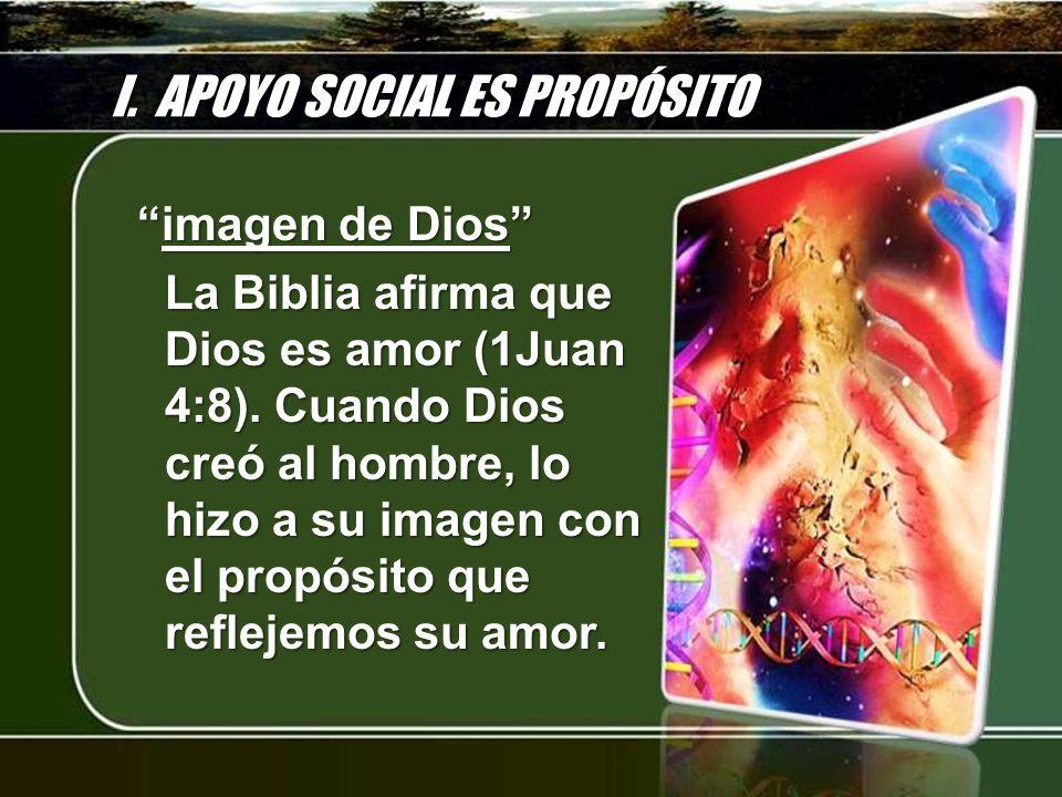 I. APOYO SOCIAL ES PROPÓSITO imagen de Dios imagen de Dios La Biblia afirma que Dios es amor (1Juan 4:8). Cuando Dios creó al hombre, lo hizo a su ima