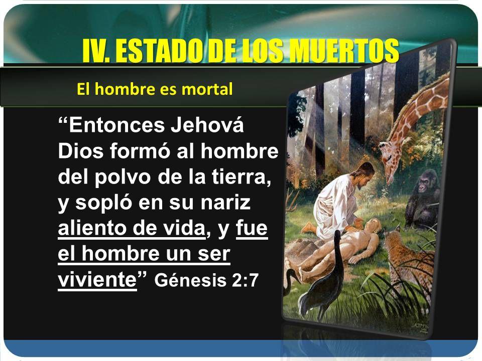 IV. ESTADO DE LOS MUERTOS Entonces Jehová Dios formó al hombre del polvo de la tierra, y sopló en su nariz aliento de vida, y fue el hombre un ser viv
