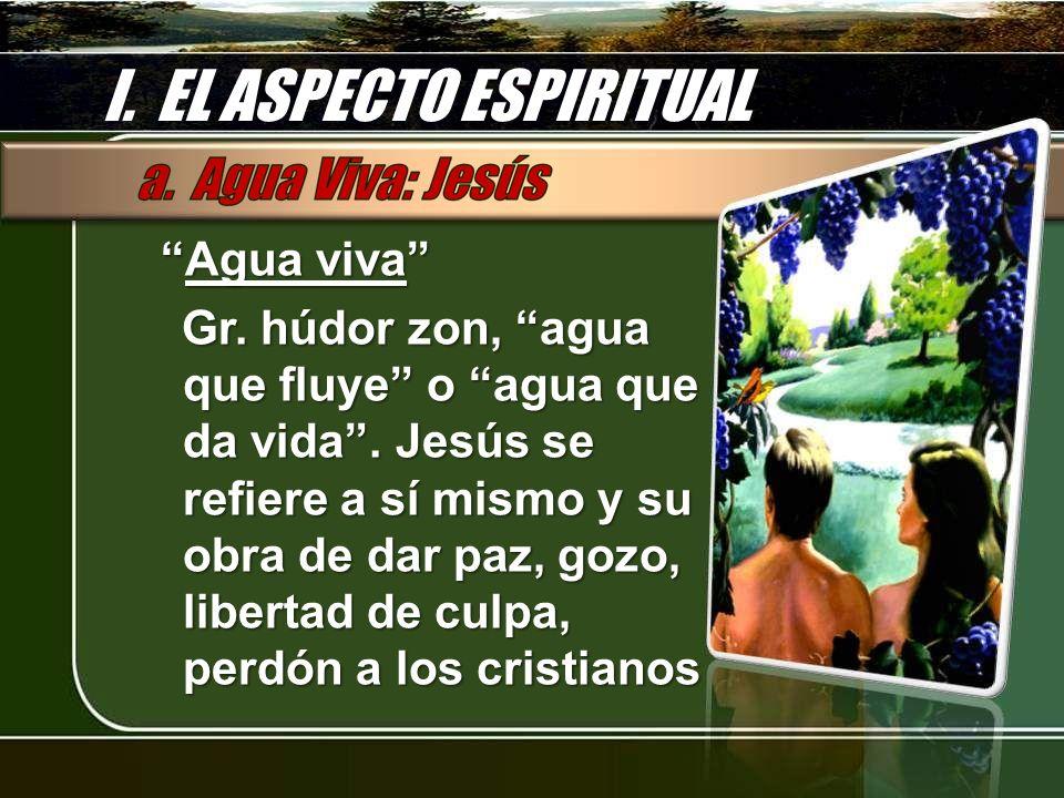 I. EL ASPECTO ESPIRITUAL Agua vivaAgua viva Gr. húdor zon, agua que fluye o agua que da vida. Jesús se refiere a sí mismo y su obra de dar paz, gozo,
