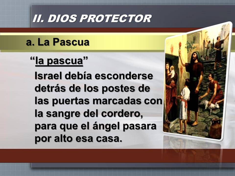 II. DIOS PROTECTOR la pascuala pascua Israel debía esconderse detrás de los postes de las puertas marcadas con la sangre del cordero, para que el ánge
