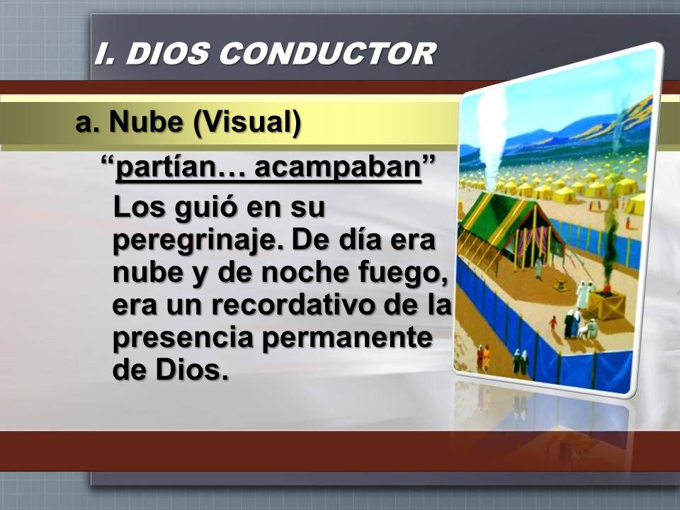 I. DIOS CONDUCTOR partían… acampabanpartían… acampaban Los guió en su peregrinaje. De día era nube y de noche fuego, era un recordativo de la presenci