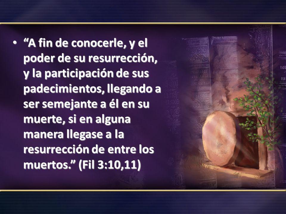 A fin de conocerle, y el poder de su resurrección, y la participación de sus padecimientos, llegando a ser semejante a él en su muerte, si en alguna m
