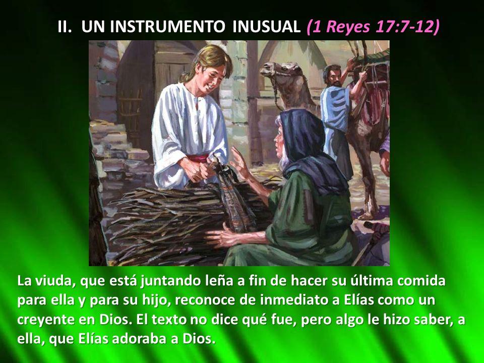 II. UN INSTRUMENTO INUSUAL (1 Reyes 17:7-12) La viuda, que está juntando leña a fin de hacer su última comida para ella y para su hijo, reconoce de in