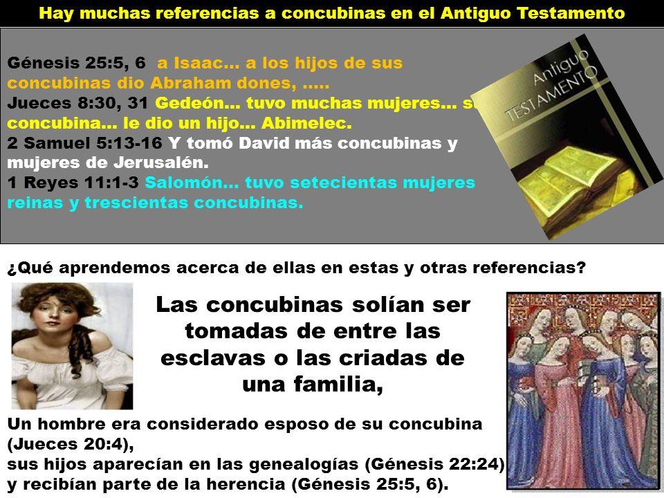 Hay muchas referencias a concubinas en el Antiguo Testamento Génesis 25:5, 6 a Isaac… a los hijos de sus concubinas dio Abraham dones, ….. Jueces 8:30