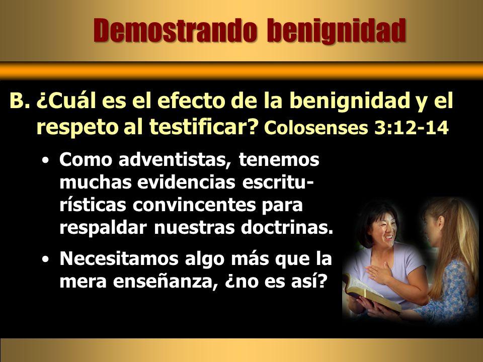 Como adventistas, tenemos muchas evidencias escritu- rísticas convincentes para respaldar nuestras doctrinas. Necesitamos algo más que la mera enseñan