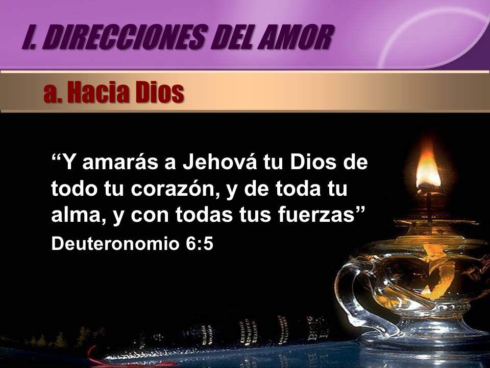 Y amarás a Jehová tu Dios de todo tu corazón, y de toda tu alma, y con todas tus fuerzas Deuteronomio 6:5 a. Hacia Dios I. DIRECCIONES DEL AMOR