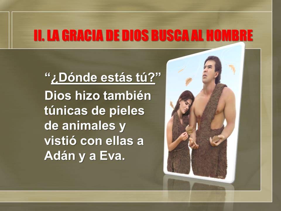 ¿Dónde estás tú?¿Dónde estás tú? Dios hizo también túnicas de pieles de animales y vistió con ellas a Adán y a Eva. II. LA GRACIA DE DIOS BUSCA AL HOM