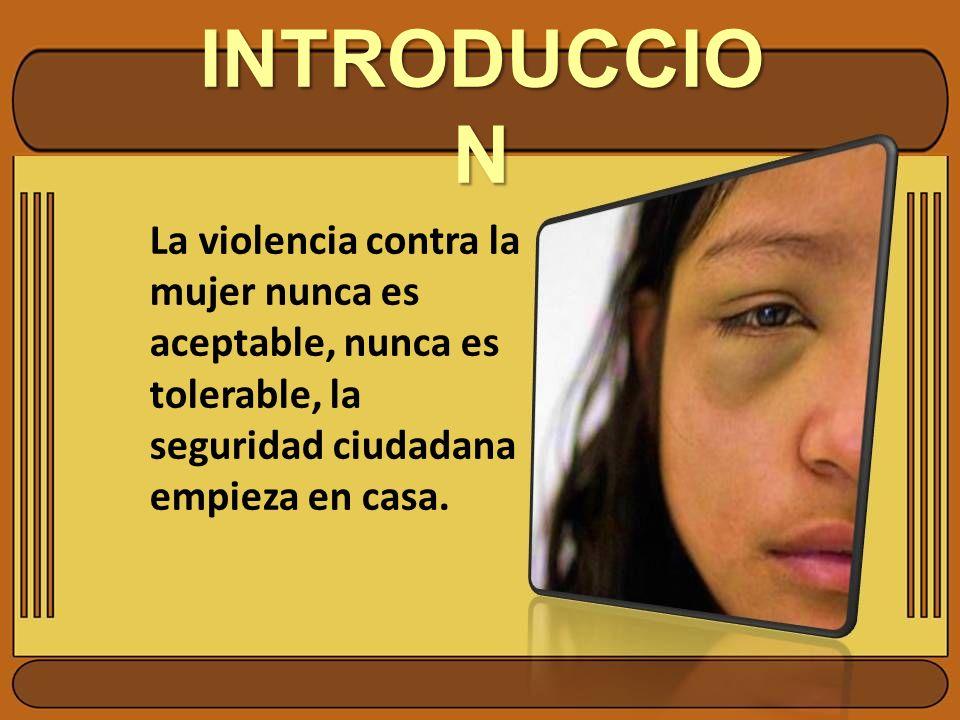 INTRODUCCIO N La violencia contra la mujer nunca es aceptable, nunca es tolerable, la seguridad ciudadana empieza en casa.