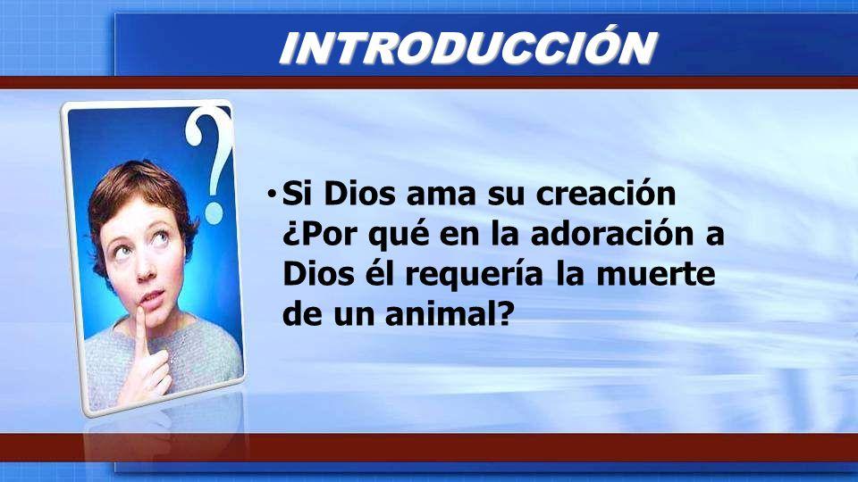 Si Dios ama su creación ¿Por qué en la adoración a Dios él requería la muerte de un animal? INTRODUCCIÓN