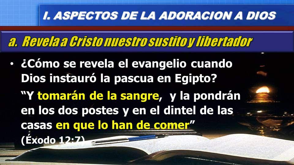 ¿Cómo se revela el evangelio cuando Dios instauró la pascua en Egipto? Y tomarán de la sangre, y la pondrán en los dos postes y en el dintel de las ca