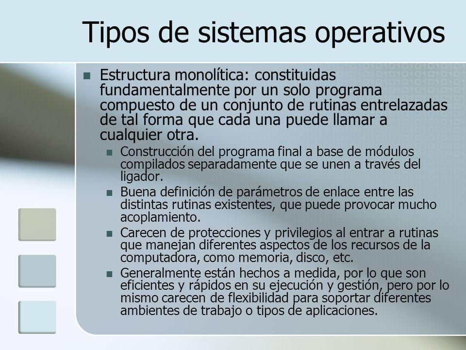 Tipos de sistemas operativos Estructura monolítica: constituidas fundamentalmente por un solo programa compuesto de un conjunto de rutinas entrelazada