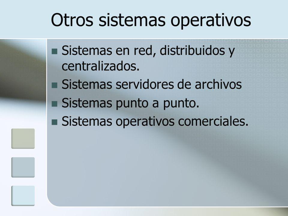 Otros sistemas operativos Sistemas en red, distribuidos y centralizados. Sistemas servidores de archivos Sistemas punto a punto. Sistemas operativos c