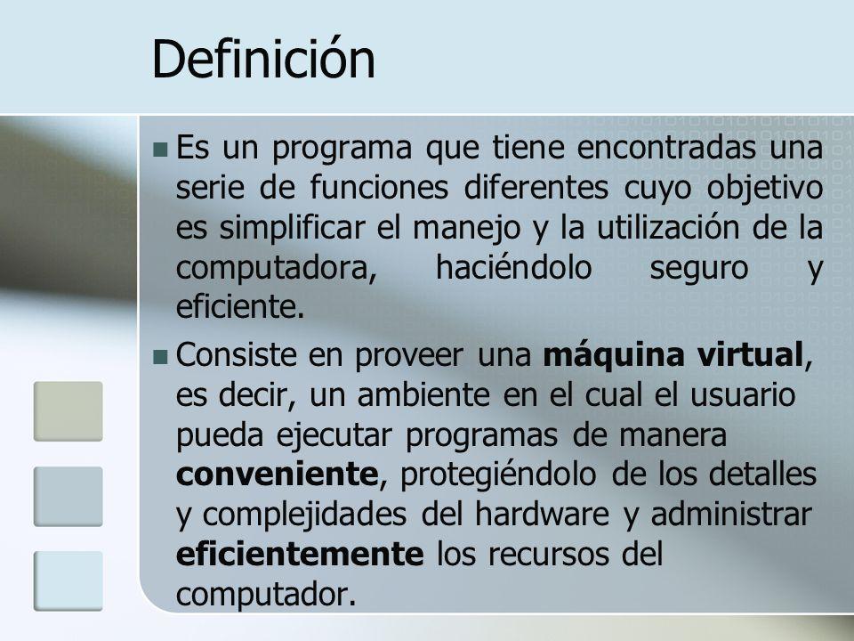 Definición Es un programa que tiene encontradas una serie de funciones diferentes cuyo objetivo es simplificar el manejo y la utilización de la comput