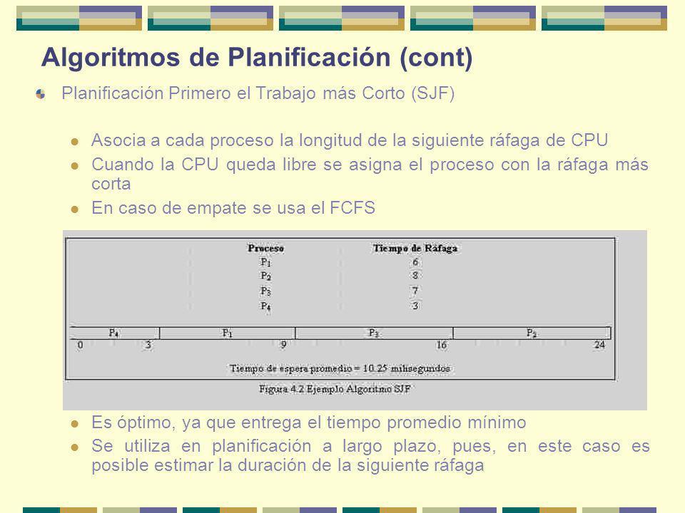 Algoritmos de Planificación (cont) Planificación Primero el Trabajo más Corto (SJF) Asocia a cada proceso la longitud de la siguiente ráfaga de CPU Cu