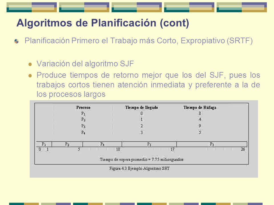 Algoritmos de Planificación (cont) Planificación Primero el Trabajo más Corto, Expropiativo (SRTF) Variación del algoritmo SJF Produce tiempos de reto