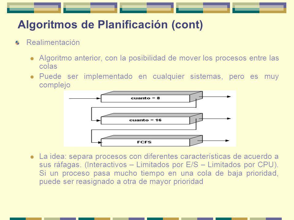 Algoritmos de Planificación (cont) Realimentación Algoritmo anterior, con la posibilidad de mover los procesos entre las colas Puede ser implementado