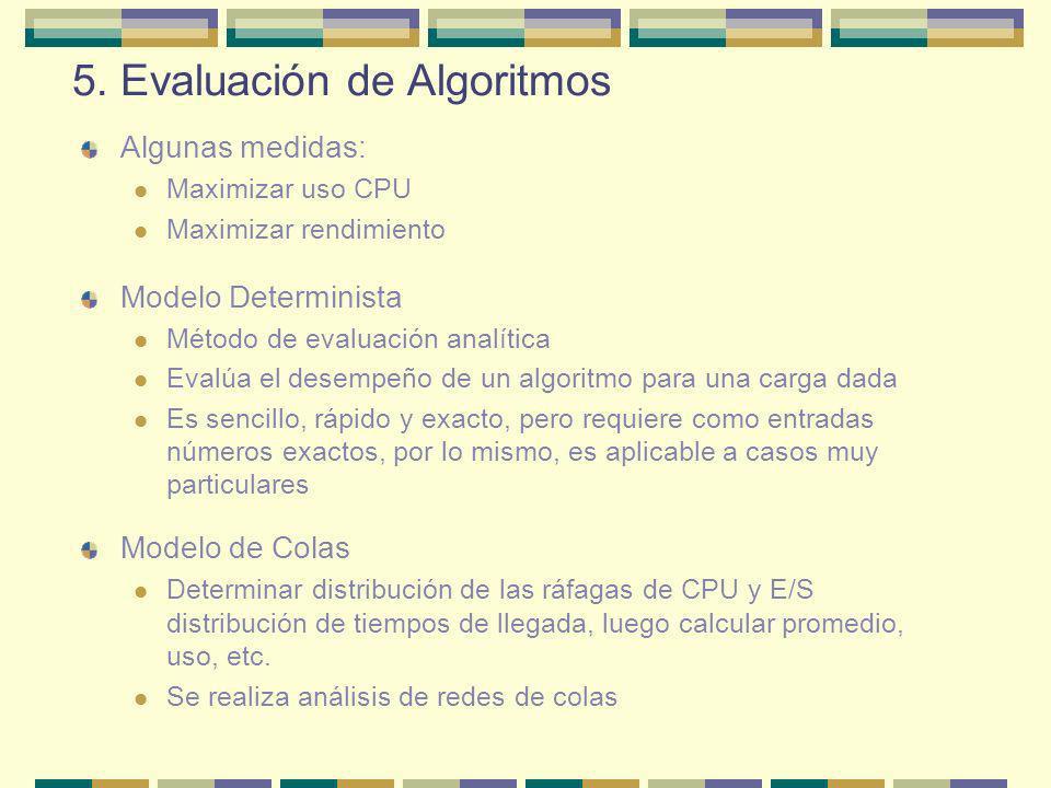 5. Evaluación de Algoritmos Algunas medidas: Maximizar uso CPU Maximizar rendimiento Modelo Determinista Método de evaluación analítica Evalúa el dese