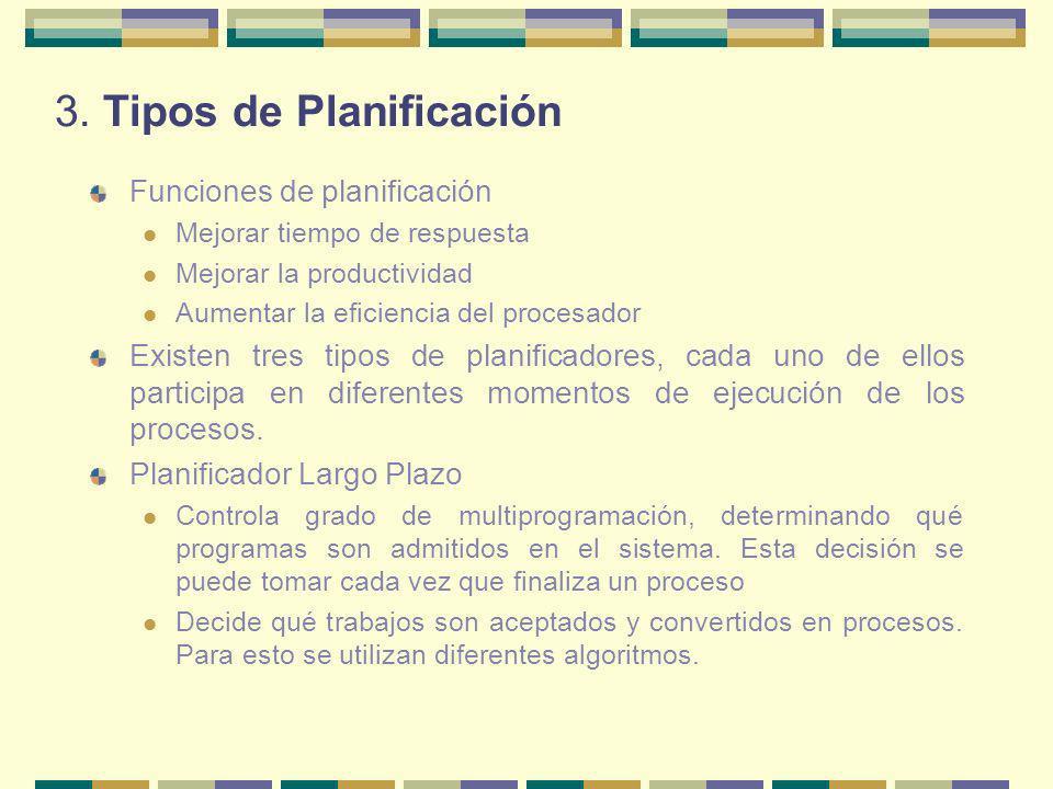 3. Tipos de Planificación Funciones de planificación Mejorar tiempo de respuesta Mejorar la productividad Aumentar la eficiencia del procesador Existe