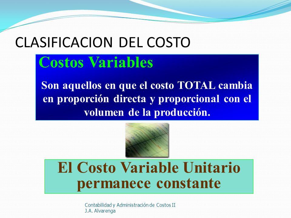 CLASIFICACION DEL COSTO Contabilidad y Administración de Costos II J.A. Alvarenga Costos Variables Son aquellos en que el costo TOTAL cambia en propor
