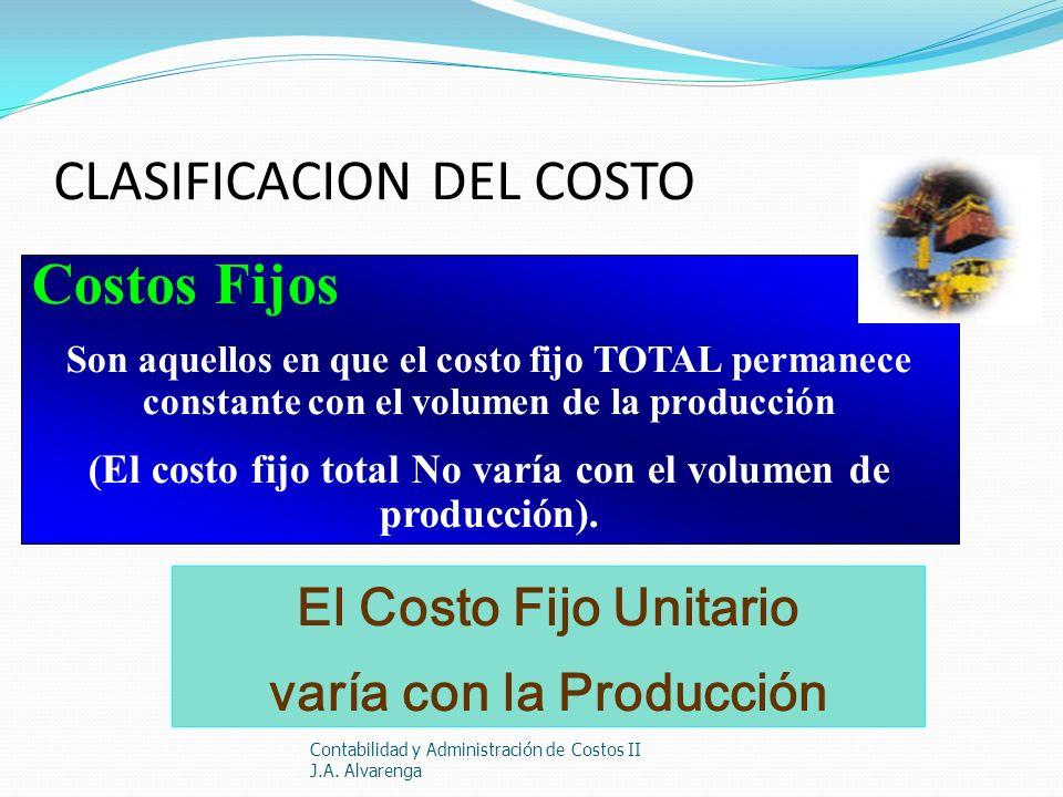 CLASIFICACION DEL COSTO Contabilidad y Administración de Costos II J.A. Alvarenga Costos Fijos Son aquellos en que el costo fijo TOTAL permanece const