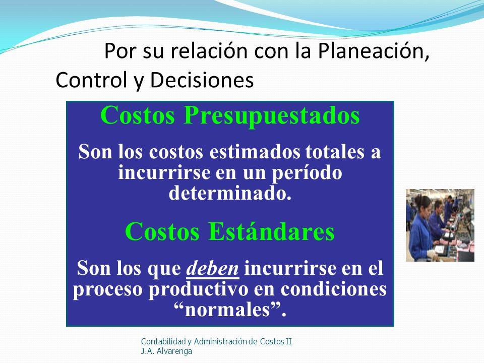 Por su relación con la Planeación, Control y Decisiones Contabilidad y Administración de Costos II J.A. Alvarenga Costos Presupuestados Son los costos
