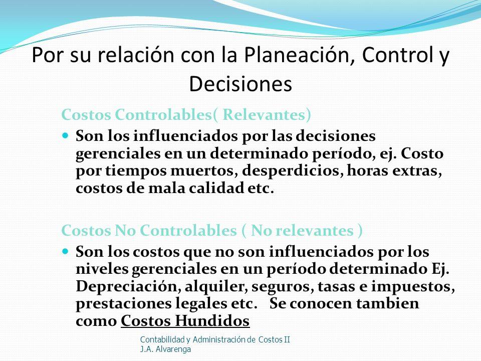 Por su relación con la Planeación, Control y Decisiones Costos Controlables( Relevantes) Son los influenciados por las decisiones gerenciales en un de