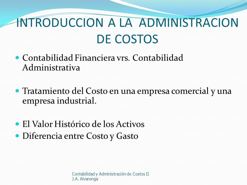 INTRODUCCION A LA ADMINISTRACION DE COSTOS Contabilidad Financiera vrs. Contabilidad Administrativa Tratamiento del Costo en una empresa comercial y u