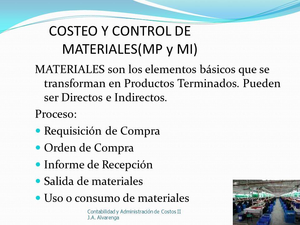 COSTEO Y CONTROL DE MATERIALES(MP y MI) MATERIALES son los elementos básicos que se transforman en Productos Terminados. Pueden ser Directos e Indirec