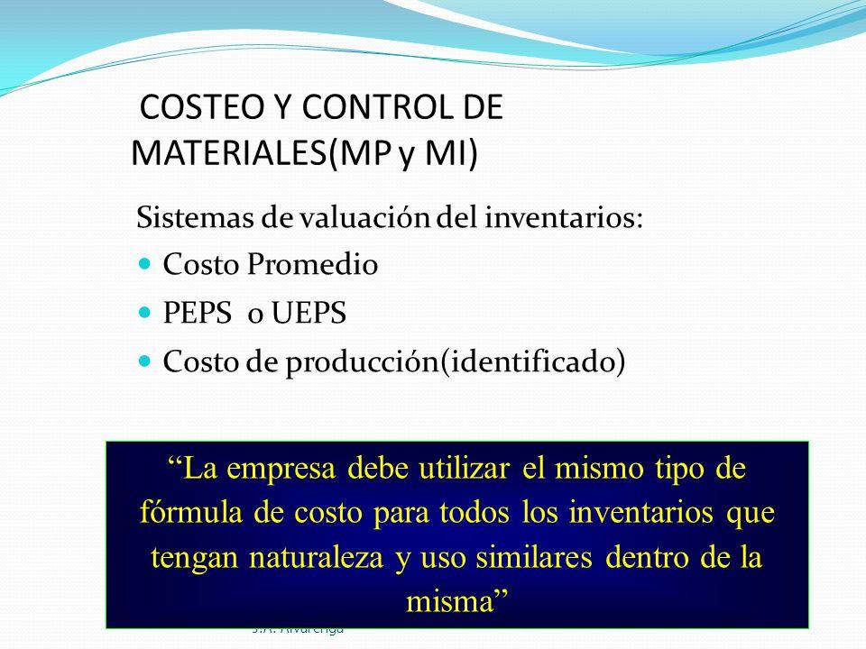 COSTEO Y CONTROL DE MATERIALES(MP y MI) Sistemas de valuación del inventarios: Costo Promedio PEPS o UEPS Costo de producción(identificado) Contabilid