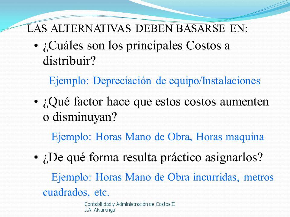 Contabilidad y Administración de Costos II J.A. Alvarenga LAS ALTERNATIVAS DEBEN BASARSE EN: ¿Cuáles son los principales Costos a distribuir? Ejemplo: