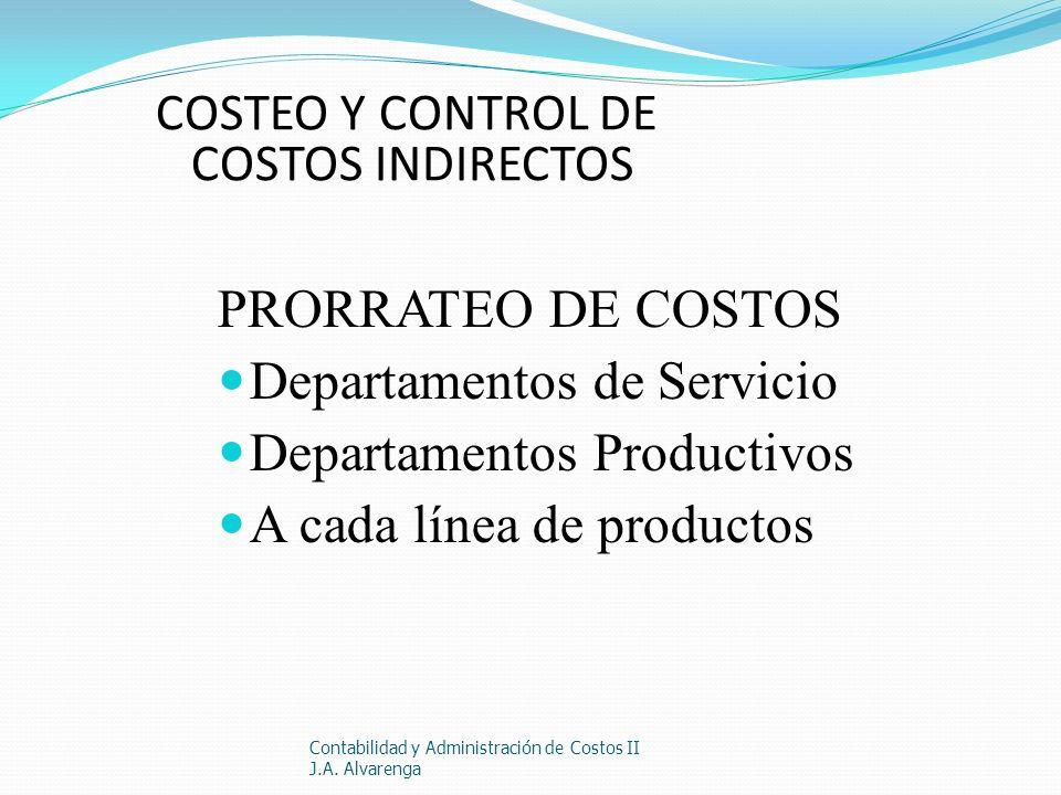 COSTEO Y CONTROL DE COSTOS INDIRECTOS PRORRATEO DE COSTOS Departamentos de Servicio Departamentos Productivos A cada línea de productos Contabilidad y