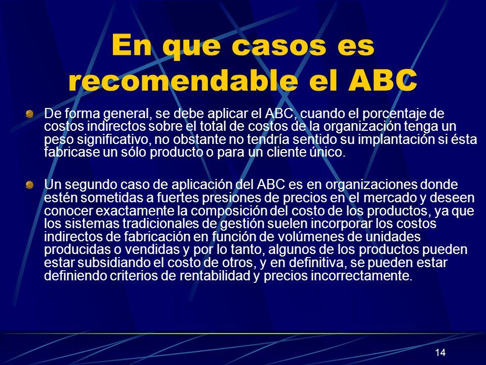14 En que casos es recomendable el ABC De forma general, se debe aplicar el ABC, cuando el porcentaje de costos indirectos sobre el total de costos de