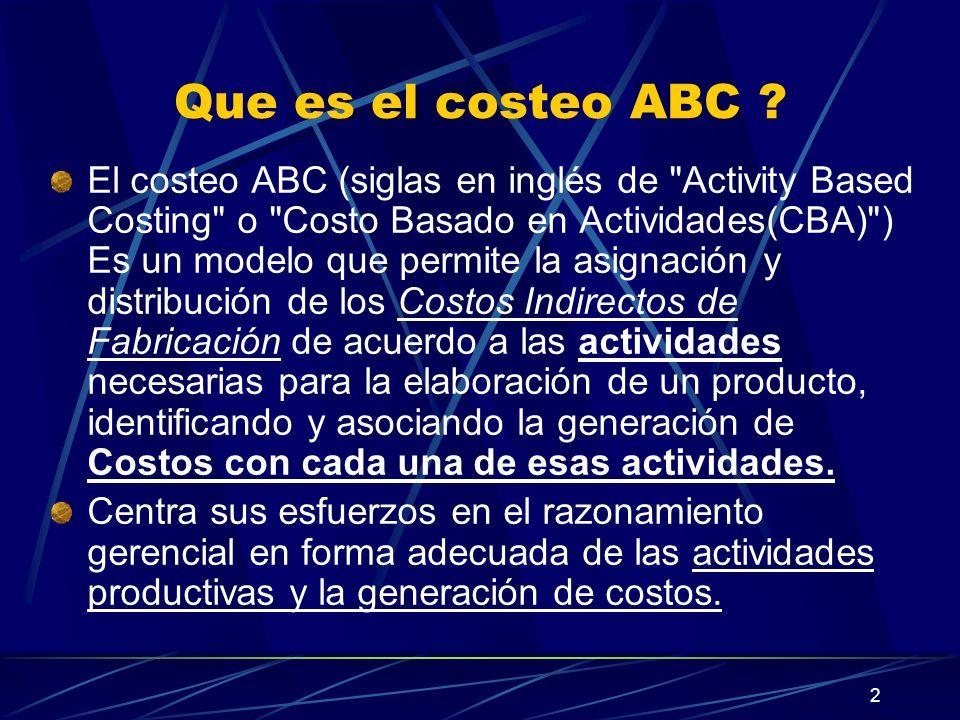 2 Que es el costeo ABC ? El costeo ABC (siglas en inglés de