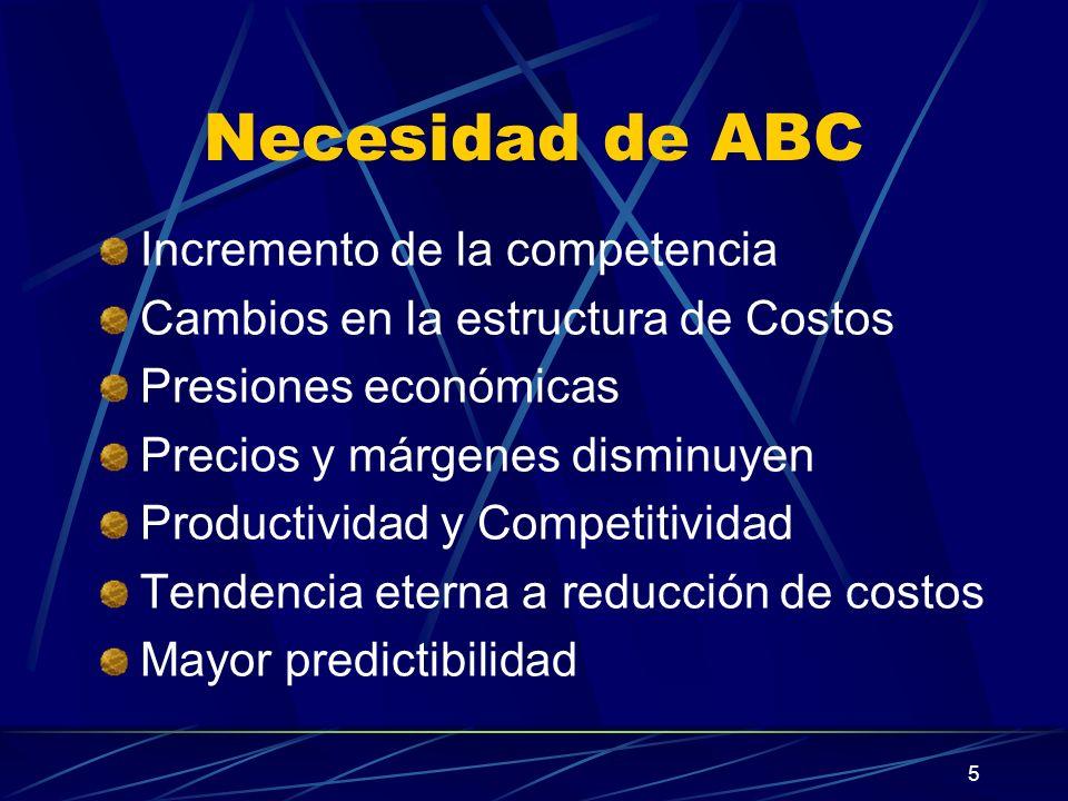 5 Necesidad de ABC Incremento de la competencia Cambios en la estructura de Costos Presiones económicas Precios y márgenes disminuyen Productividad y