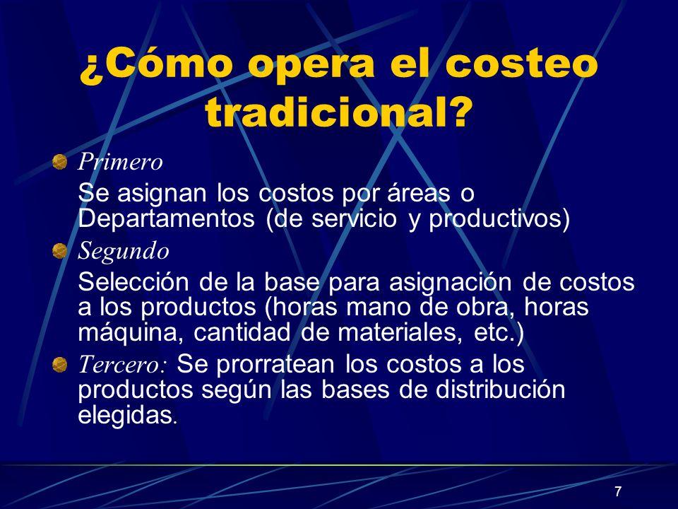 7 ¿Cómo opera el costeo tradicional? Primero Se asignan los costos por áreas o Departamentos (de servicio y productivos) Segundo Selección de la base