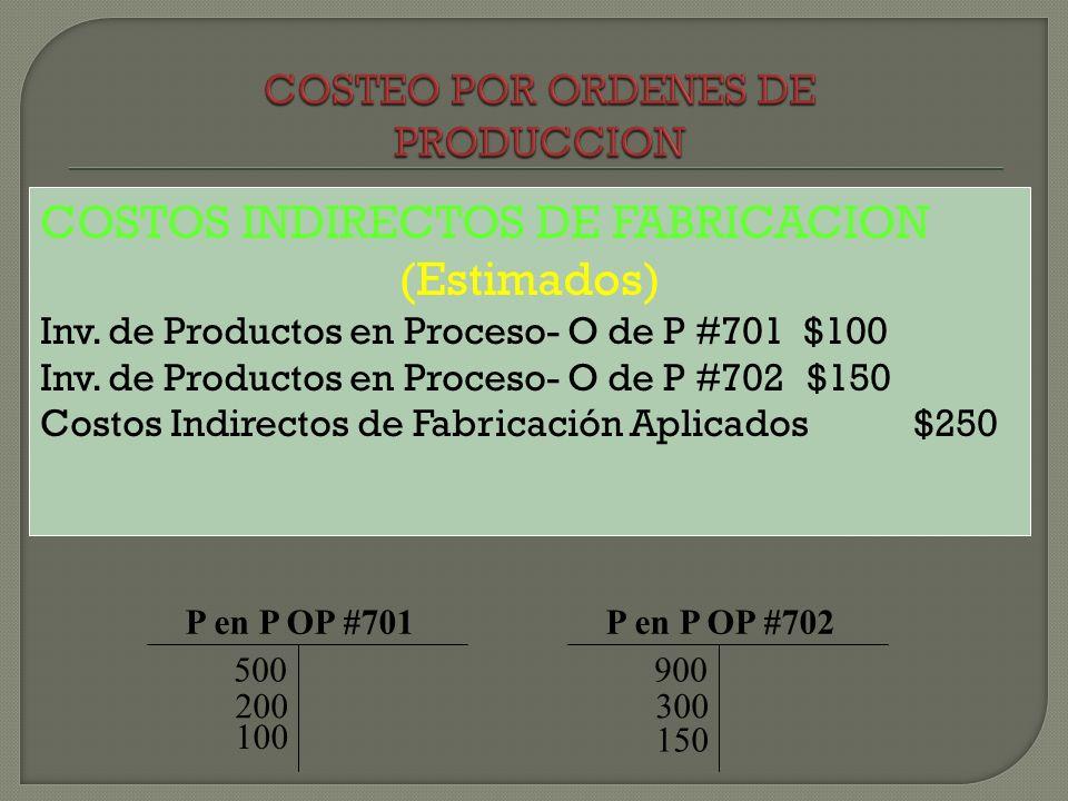 COSTOS INDIRECTOS DE FABRICACION (Estimados) Inv. de Productos en Proceso- O de P #701 $100 Inv. de Productos en Proceso- O de P #702 $150 Costos Indi