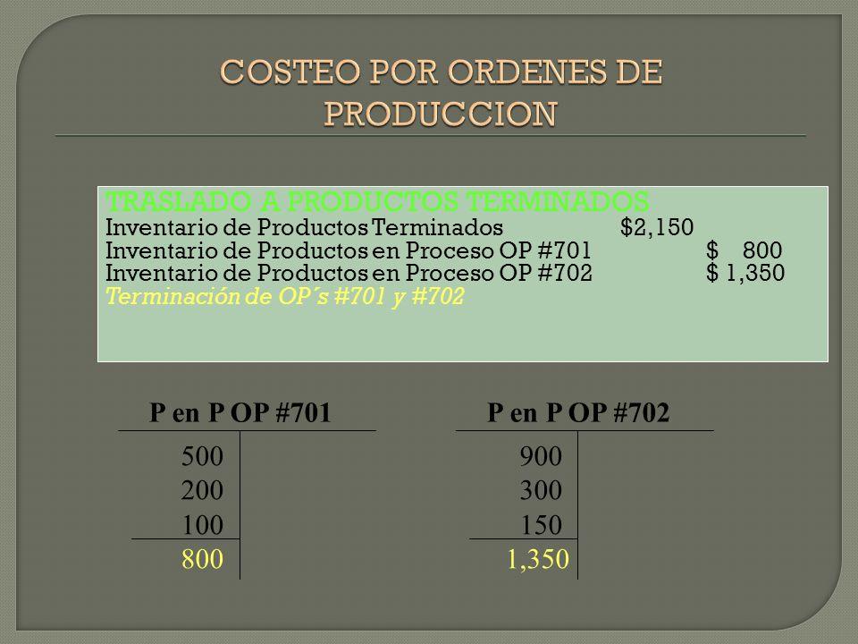 TRASLADO A PRODUCTOS TERMINADOS Inventario de Productos Terminados$2,150 Inventario de Productos en Proceso OP #701 $ 800 Inventario de Productos en P